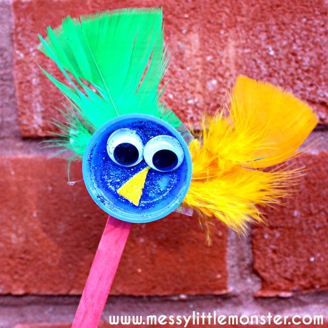 Bird Puppet Kids Craft Messy Little Monster