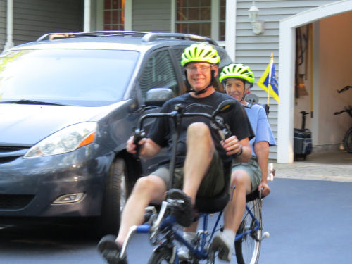 riding a recumbent tandem bicycle