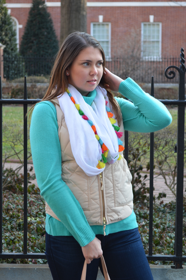 A multi color tassel scarf is the perfect lightweight accessory for spring.
