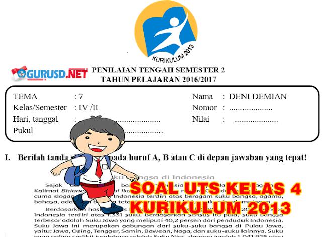 Soal UTS Kurikulum 2013 Revisi Kelas 4 Semester 2
