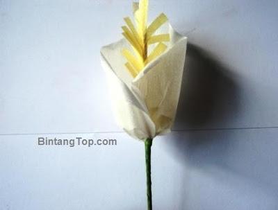 membuat bunga Lily dari kertas crepe