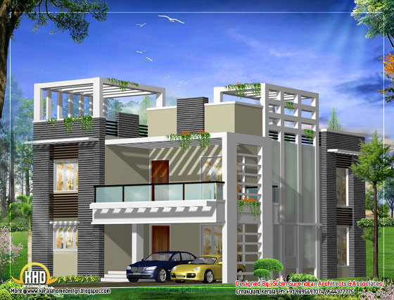 Modern home design plan - 2500 Sq. Ft.(232 Sq. M. )(278 Square Yards) - March 2012