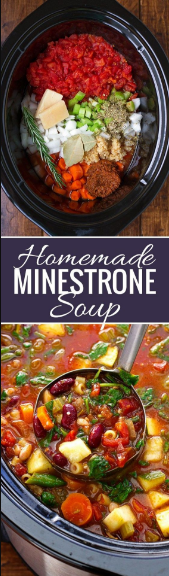 Homemade Mínestrone Soup (Slow Cooker)