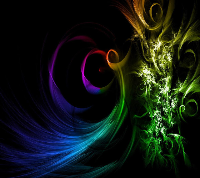 Colourful 3D Digital Art Black Wallpaper