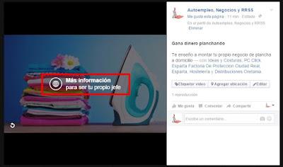 Resultado final de la vídeo presentación con llamada a la acción en facebook