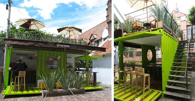 Café Cultor - двухэтажное кафе из контейнера