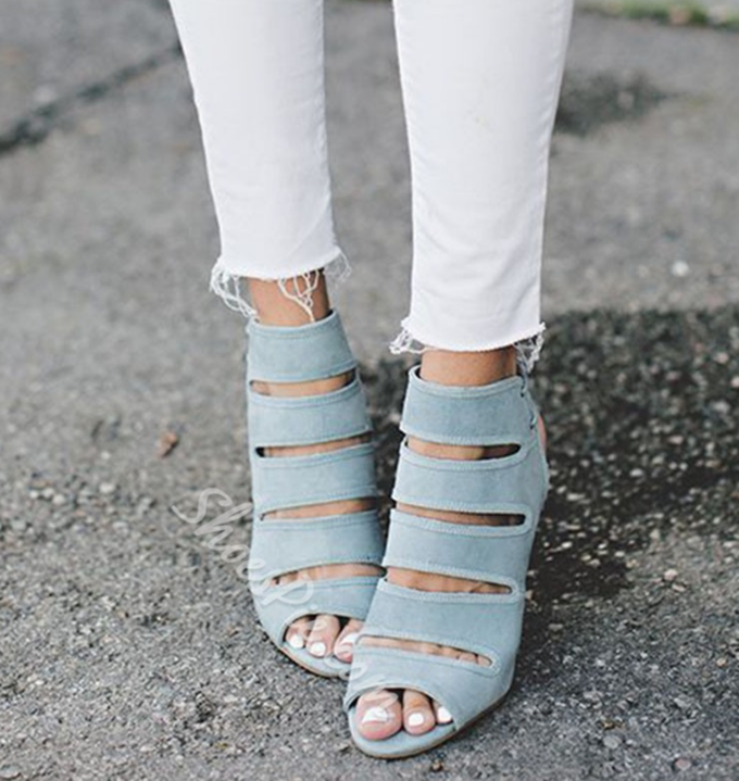 Shoespie Light Blue Suede-like Peep Toe Wedge Heels