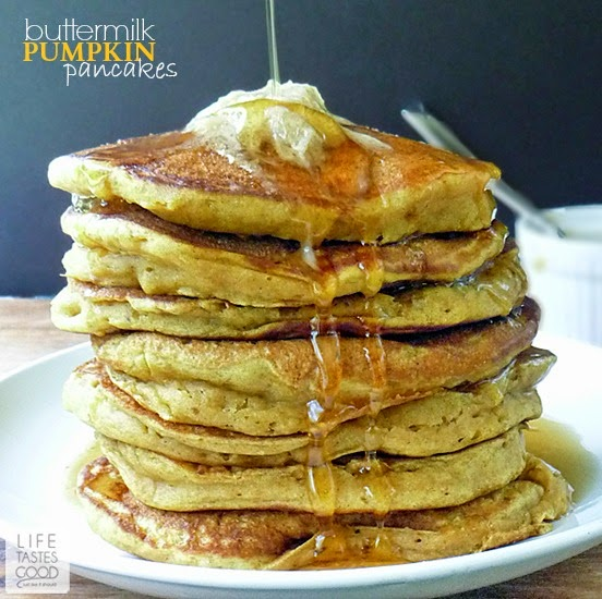 Buttermilk Pumpkin Pancakes |by Life Tastes Good melt in your mouth! Loaded with homemade pumpkin puree, these pancakes are a delicious and nutritious way to start your day. #PumpkinWeek #Breakfast