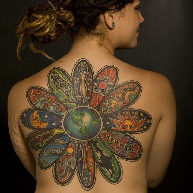 full earth tattoo for back