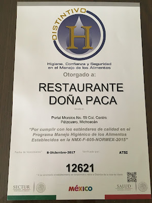 Distinitctive H Ceritificate of Restaurante Doña Paca in Pátzuaro