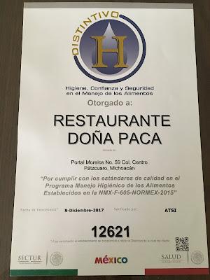 Distinitctive H Ceritificate of Restaurante Doña Paca in Pátzuaro