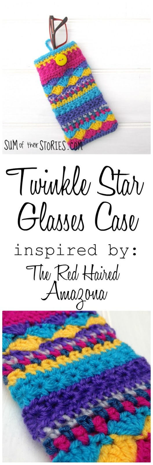 Twinkle star crocheted glasses case