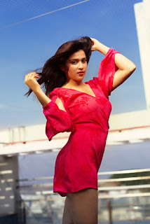 Mannara Chopra Sexy Pictures In Red Mini Dress