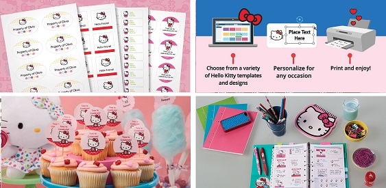 Image: Avery and Sanrio(r) have teamed up to bring you Hello Kitty(r) printables available for Avery products.