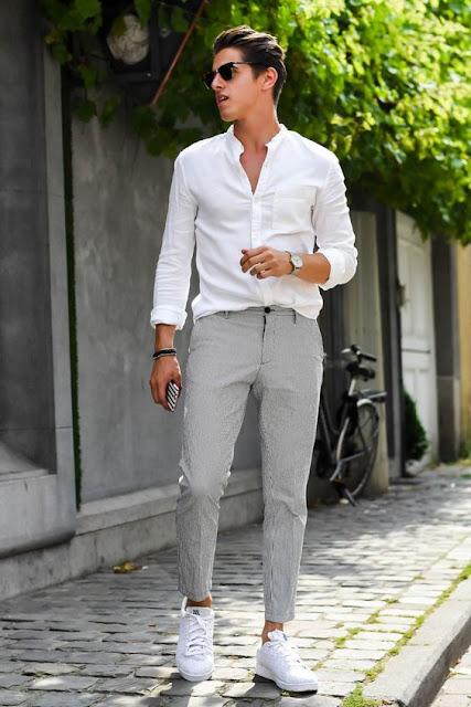 look masculino com calça cropped