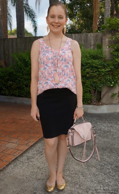 summer office outfit leaf print tank black pencil skirt, Rebecca Minkoff Darren small messenger | awayfromblue