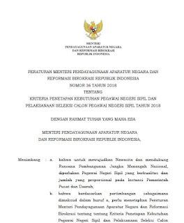 Kementerian Pendayagunaan Aparatur Negara dan Reformasi Birokrasi telah menerbitkan  Download Permenpan RB Nomor 36 Tahun 2018