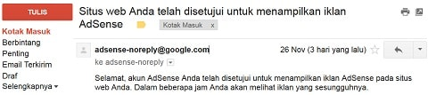 Akhirnya Google Adsense Disetujui
