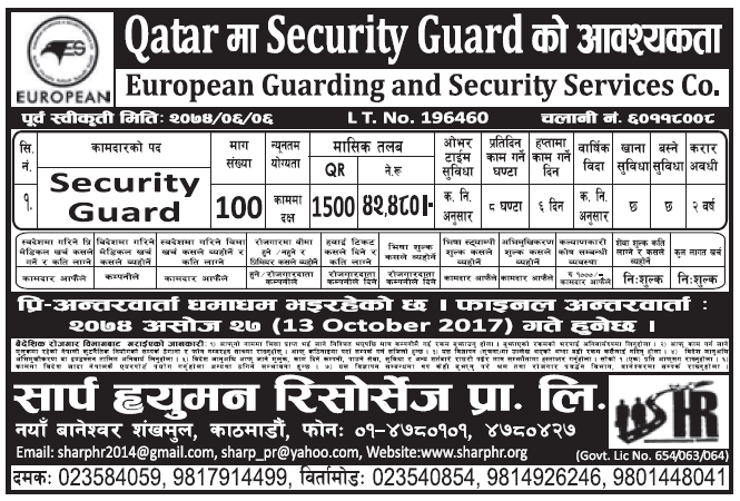Jobs in Qatar for Nepali, Salary Rs 42,480