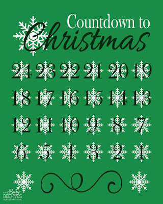 Countdown to Christmas printable, green and snowflake