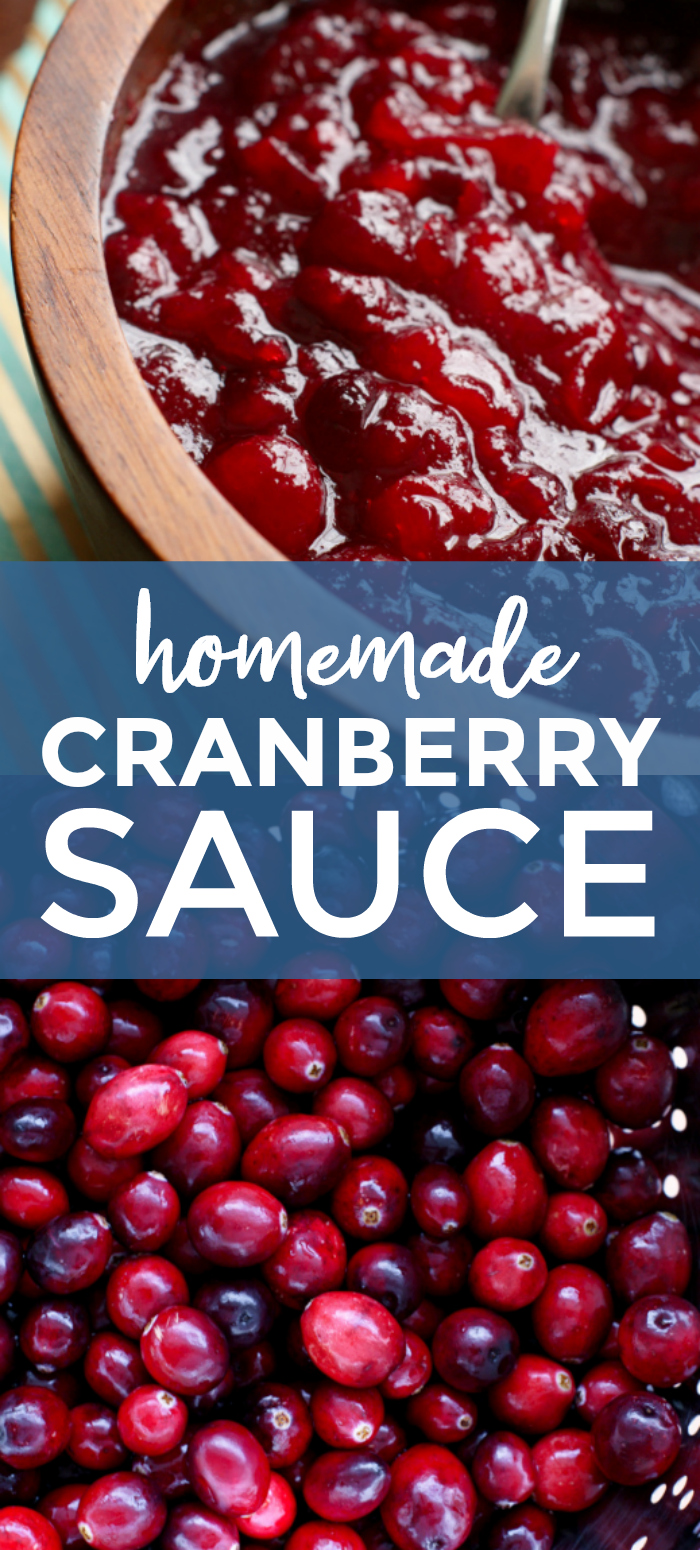 This easy to make Homemade Cranberry Sauce made from whole cranberries is so bright, fresh, and full of flavor that you will never want to buy cranberry sauce in a can again! #Thanksgiving #sidedish #cranberries