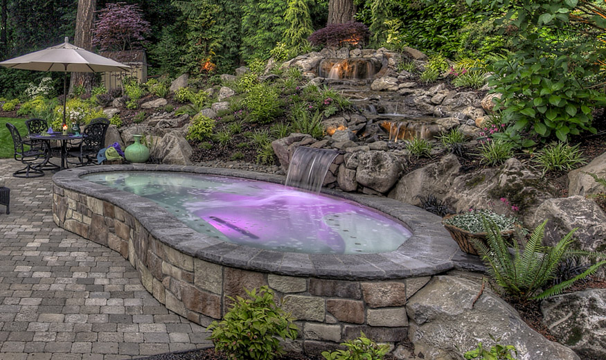Landscaping in australia exclusive water feature enhances - Small backyard water features ...