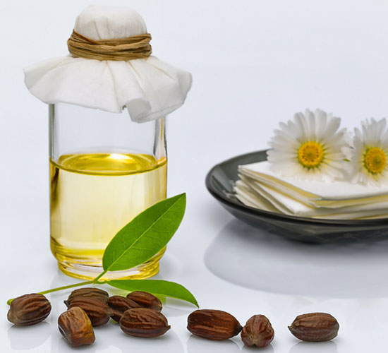 Jojoba oil in a bottle