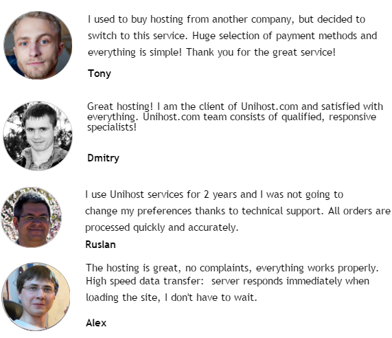 Unihost testimonials, Customers views about unihost