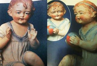 Pareja de Baby Piano Dolls jugando a la pelota Gebruder Heubach