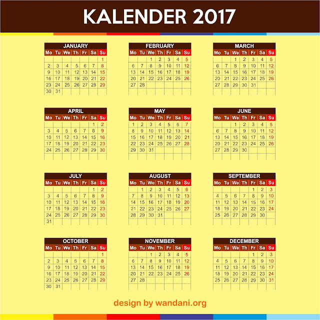 Free Download Calender Design 2017 Format CDR