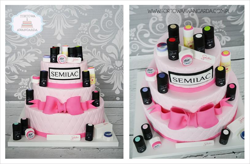 piętrowy pikowany artystyczny tort z kosmetykami Semilac Warszawa