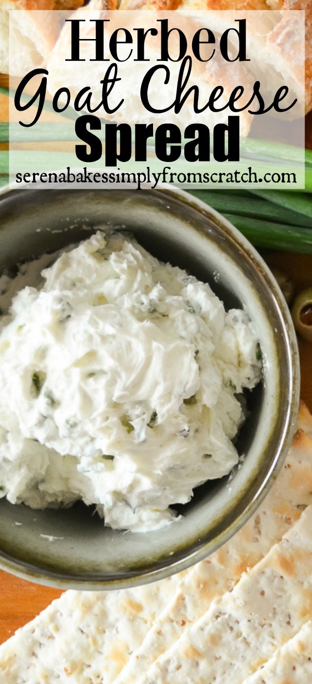 Herbed Goat Cheese Spread is a wonderful addition to your Thanksgiving or Christmas Appetizers. The flavors amazing and it takes under 5 minutes to make.