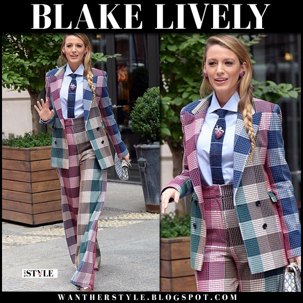Blake Lively in checked pink and blue jacket and pants roland mouret fall fashion august 18