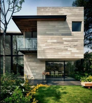 tekstur kayu Tampak Depan Rumah Minimalis modern 2 Lantai