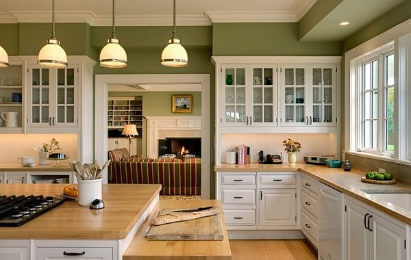 Two Lovely Shades Of Olive And Creamy White Make This A Pretty Kitchen