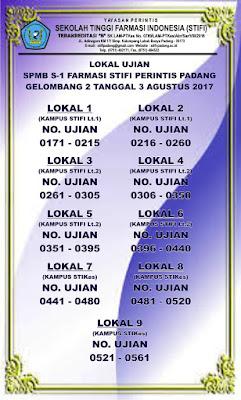 RUANG UJIAN SPMB STIFI PERINTIS GELOMBANG 2 TANGGAL 3 AGUSTUS 2017