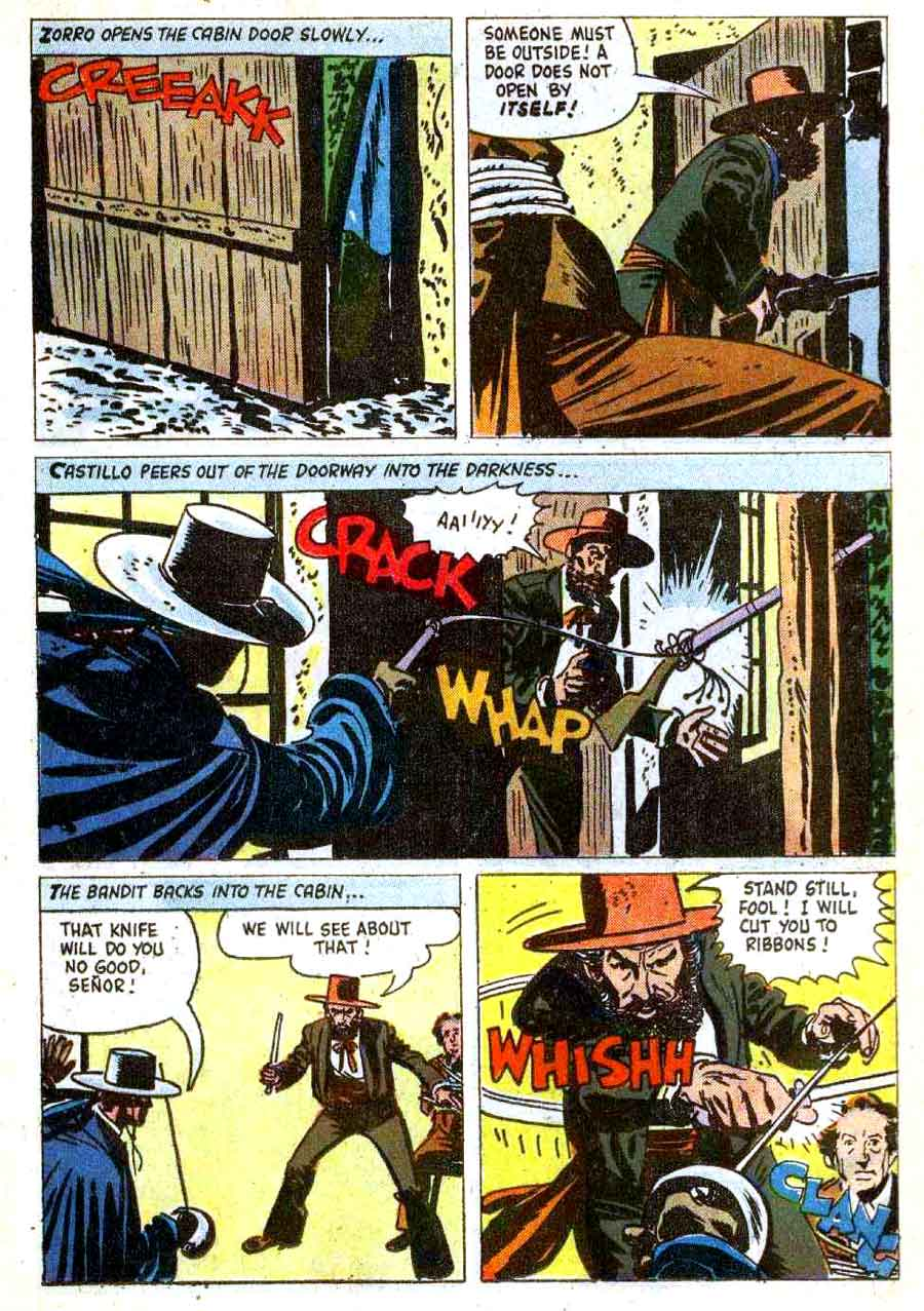Zorro Four Color #1003 1950s dell comic book page art by Alex Toth