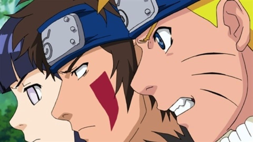 Hinata, Kiba y Naruto