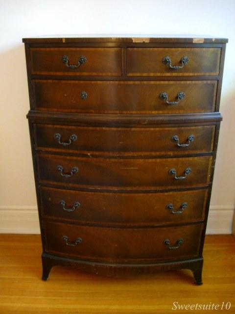 Damaged vintage dresser