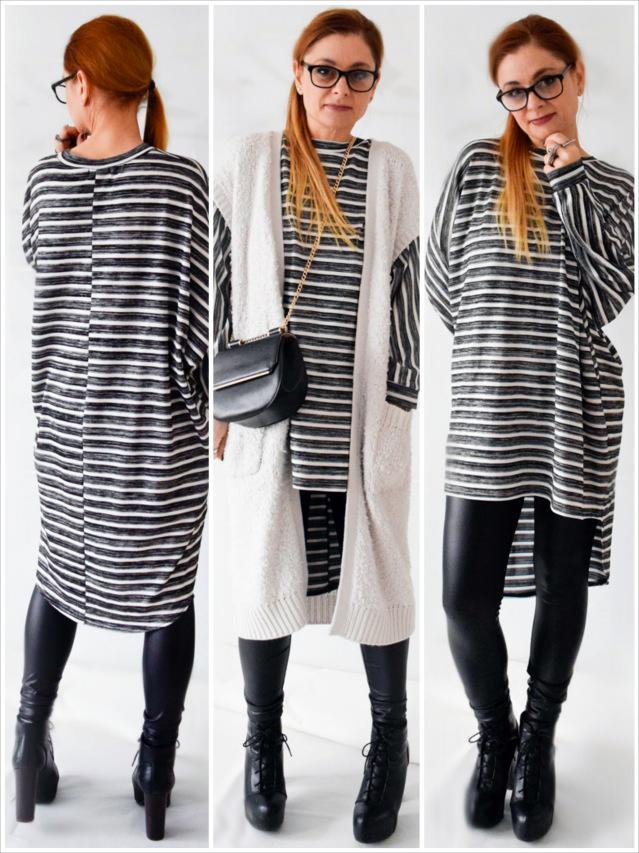 die Edelfabrik - Schwarz-Weiß Outfit mit Oversized Shirt, Fakeleder Leggings und langer Weste