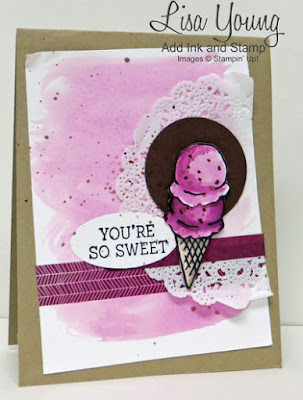 Stampin' Up! Honeycomb Happiness stamp set. Raspberry Ice Cream cone card. Handmade  card by Lisa Young, Add Ink and Stamp