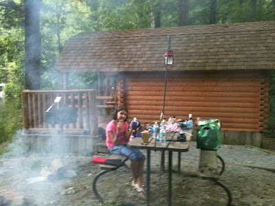 Cooking Dinner near the Cabin in the Smokies our outdoor travel stories