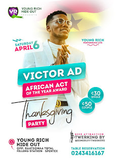 VICTOR AD  THANKSGIVING  PARTY  HAPPENING  LIVE  AT  YOUNGRICH HIDE-OUT ( Read Full Details)  [Upcoming Event]