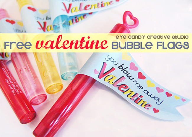 free valentine bubble flags, kids valentines, free valentine download