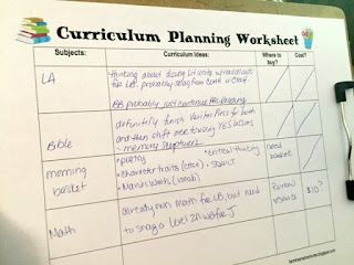 Curriculum Planning Worksheet Blank with Fat Five rows