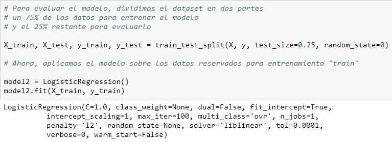 Dividimos el dataset en train y test.