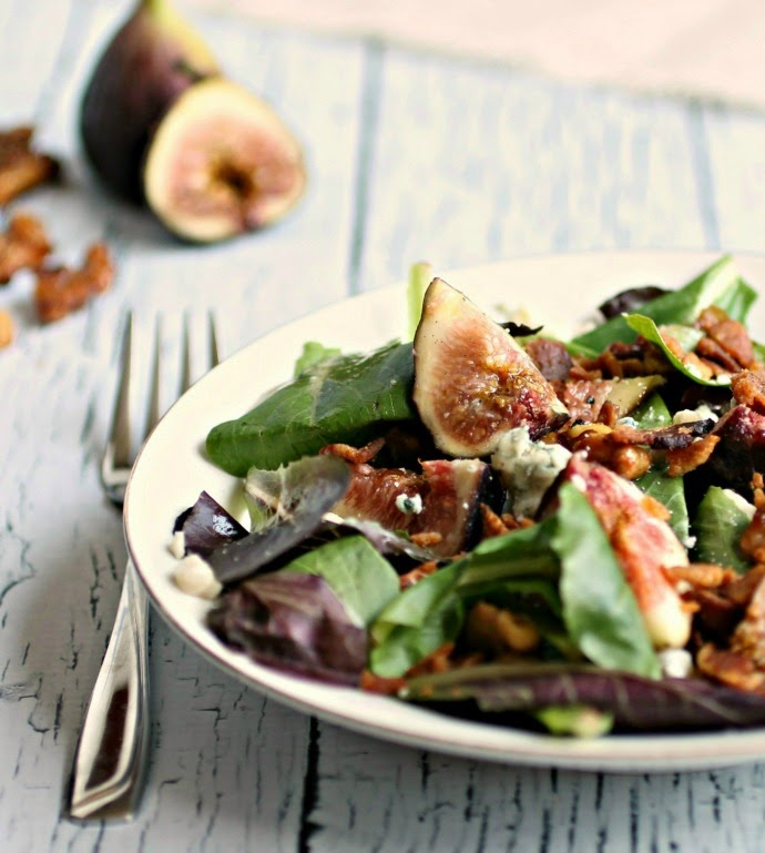 Fig Salad with Bacon, Blue Cheese and Honeyed Walnuts