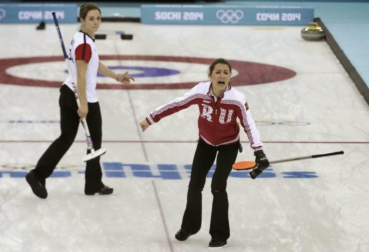 Anna Sidorova, Alexandra Saitova, and Ekaterina Galkina in action at the 2014 Sochi Winter Olympics