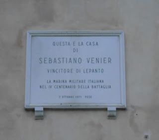 The plaque to Sebastiano Venier at his house in Campo Santa Maria Formosa in Venice