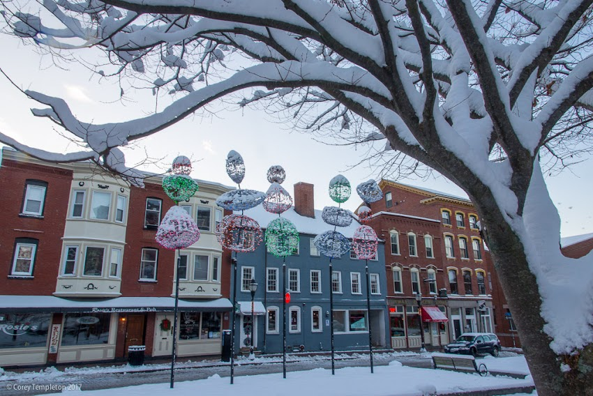 Portland, Maine USA December 2017 photo by Corey Templeton. A shot of Boothby Square in the Old Port after a fresh snow